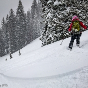 Carly kaing tracks down our first ski of the season at Tom\'s Hill.