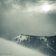 Looking towards Tom\'s Hill from Peak 9401\' on a windy, snowy Christmas Eve.