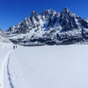 Farther out on the Mer de Glace.  We were able to ski a fair way down before having to take of the skis.