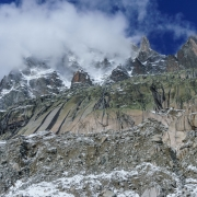 Looking up about 4000' to the tops of the mountains from the Mer de Glace.