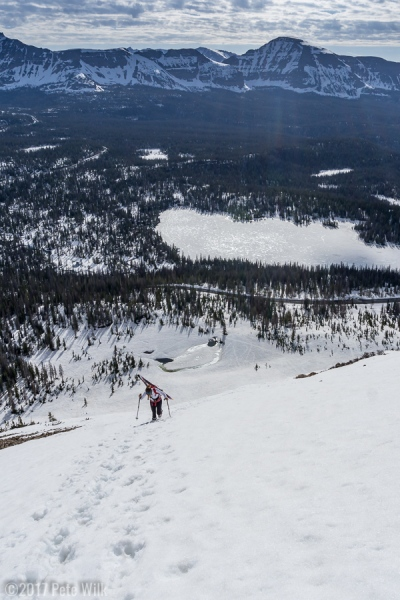 Booting up the NE face of Bald Mountain.