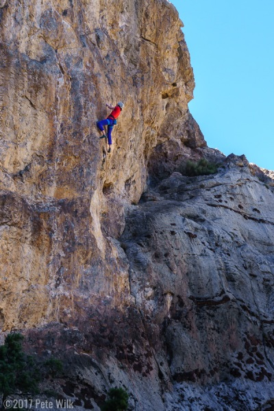 Dana making another redpoint burn on Sunset Lanes (5.11d)