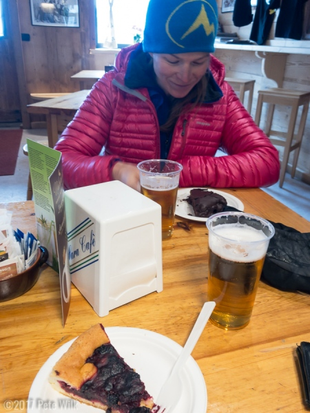 """Beers and pie before we even get off the mountain in the Torino \""""Hut\""""."""
