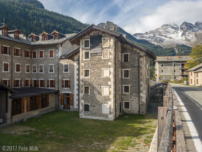 The quaint village of Ceresole.  The Gran Hotel to the left is where we stayed.  The National Park is towards the high mountains.