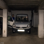 The Kangoo in the parking garage. I\'m glad the van wasn\'t any bigger.