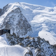 The Cosmiques hut from the base of the Cosmiques ridge climb.