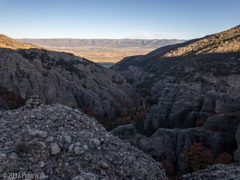 Third and final summit (Great Chasm 5.7) of our multipitch moderate half day in Maple Canyon.