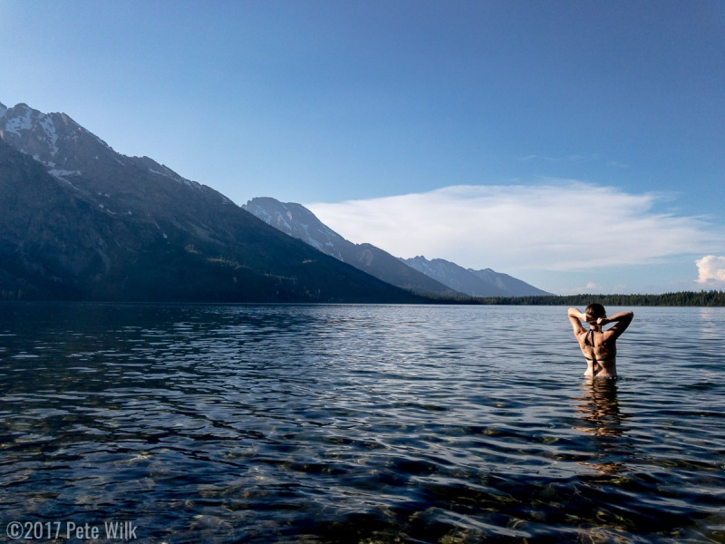 We took a tourist day and didn't do much but did get a late day dip in Jenny Lake to cool off and wash off.