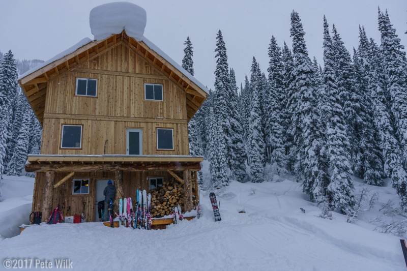 View of the lodge from the landing pad. Note the huge roof cornice which thankfully did not drop while we were there.