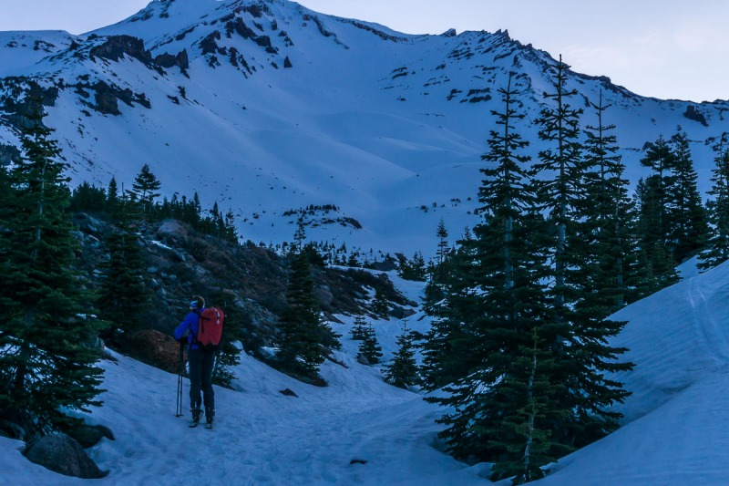 Starting the day working our way up the Avalanche Gulch.