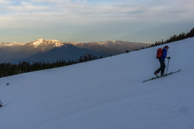 Skinning up the easy, but icy slopes down low.