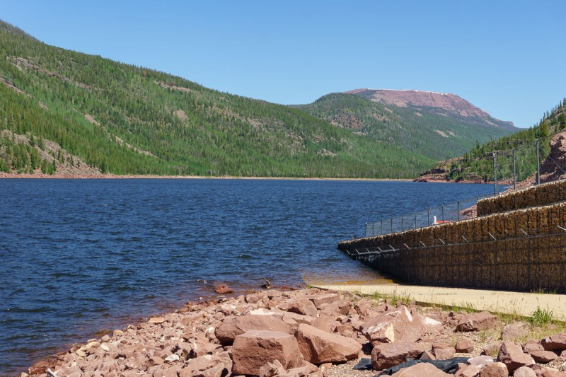 A giant reservoir at the foot of the Uinta Mountains.  The water from this lake goes 37 miles through tunnels and pipes to the west side of the Wasatch.