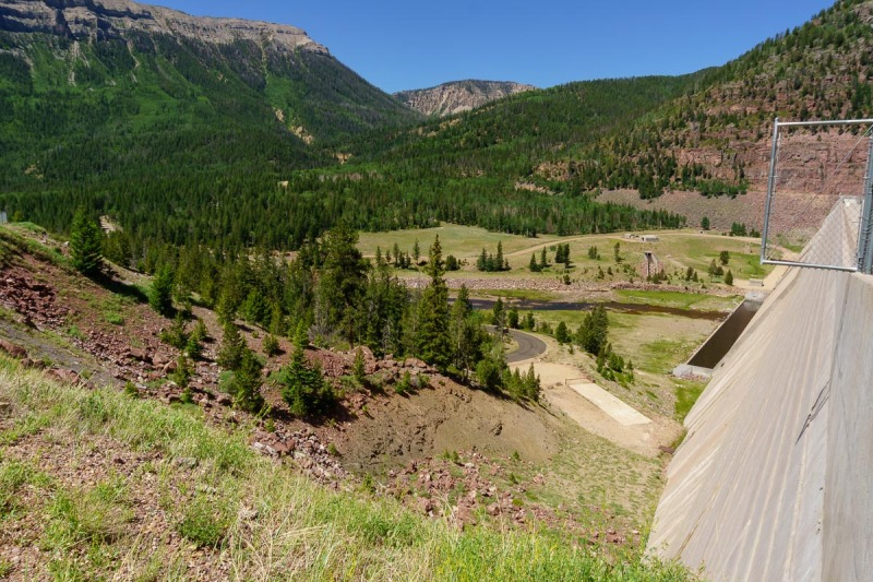 Looking on the lower side of the dam.  The road we take next goes up the valley in the center of the photo.