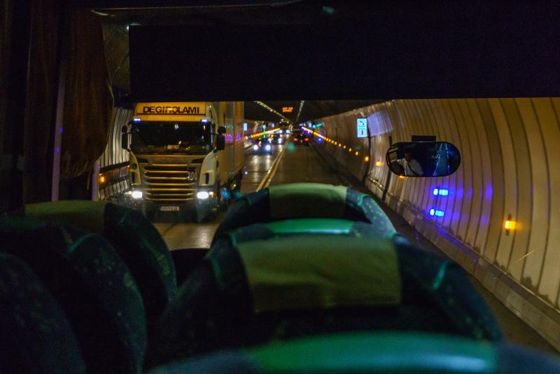Heading through the Mont Blanc tunnel.
