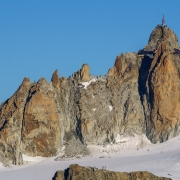 View of the massive rockfall on the Cosmiques Arete.  Hopefully the route will be back in condition next year.