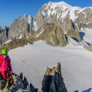 On the summit of the Aiguille de Marbrees.  Mont Blanc in the background.