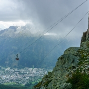 View of the cable car just at the rain started to come in.