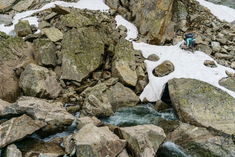 Working our way on the rocks towards the high water crossing spot.