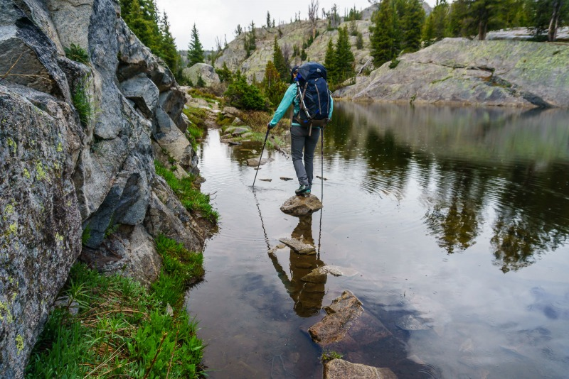 Another water obstacle.  This pond overran the trail.  Luckily there are rocks along the side to go between.  Trekking poles make this much easier.
