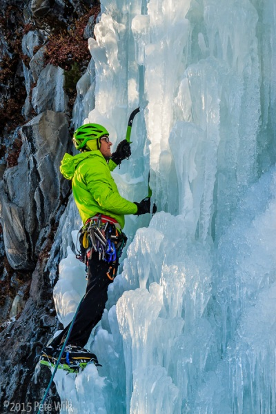 Doug Chabot, alpinist extraordinaire, leading up a difficult to protect Killer Pillar (WI5).