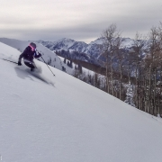 Carly making some fresh turns in some great powder.