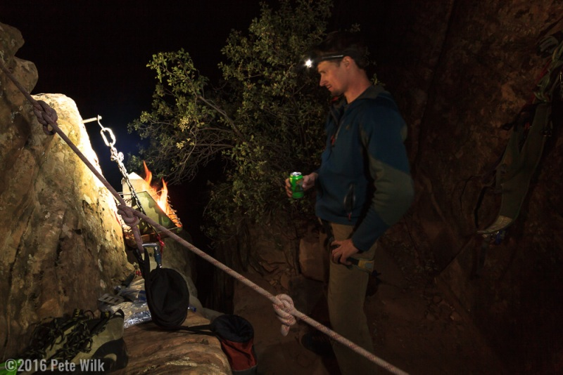 The bivy ledge has a grill which someone brought up at some point.  It is secured to the rock with an old ice screw.  How often do you get the chance to grill steaks on a big-wall?