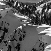 More big cornices hanging over Wolverine Cirque.