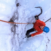 The last 20 feet or so of this route had a neat ice slot.  While steep it wasn\'t too hard as you could get off your hands quite a bit by leaning into the sides.