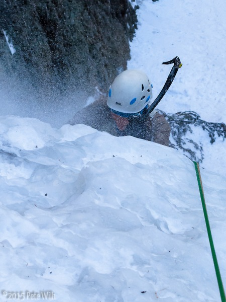 Carly fighting through the spindrift on the Ribbon (WI4).