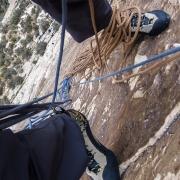 Monster belay ledge on P3 or 4 of Rock Warrior (5.10b).