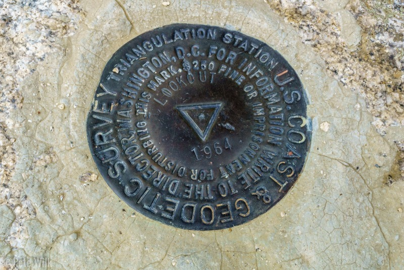 Benchmark on the top of Lookout Peak.  The old fire lookout tower is largely dismantled now.