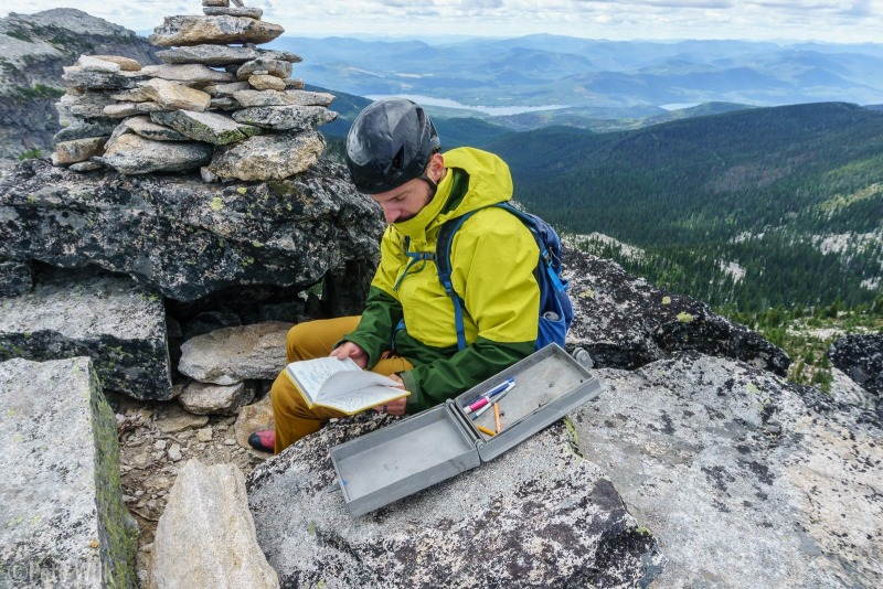 Taking a look at the summit register.