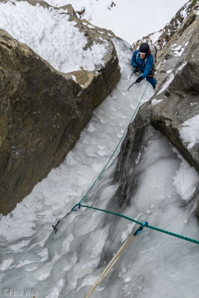 Getting up to the P2 belay.  This pitch, while hooked out, was narrow and balancy.