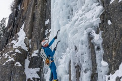 Micah leading P1 of Ames Ice Hose (WI5).