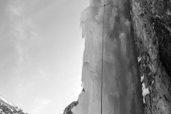 Getting ready to negotiate the roof on the first pillar, which I think is the crux of the route.