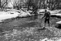 Fording the Strawberry river at a shallow spot.