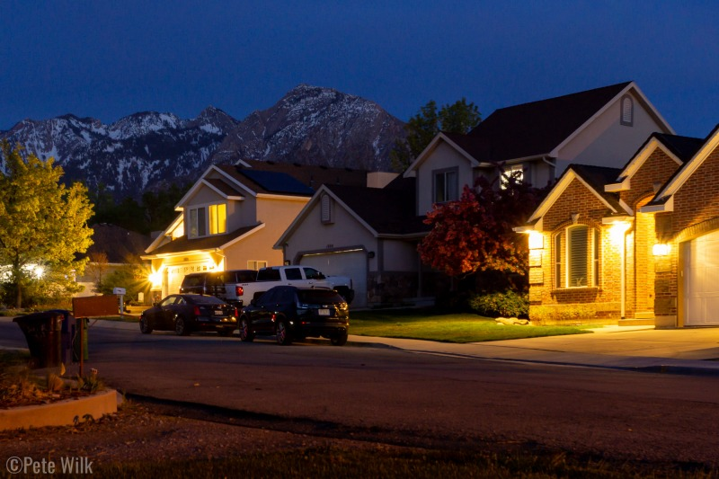 Night-time in the neighborhood.