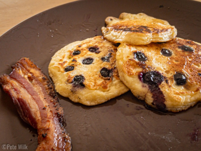 Sourdough pancakes and fancy butchershop bacon.