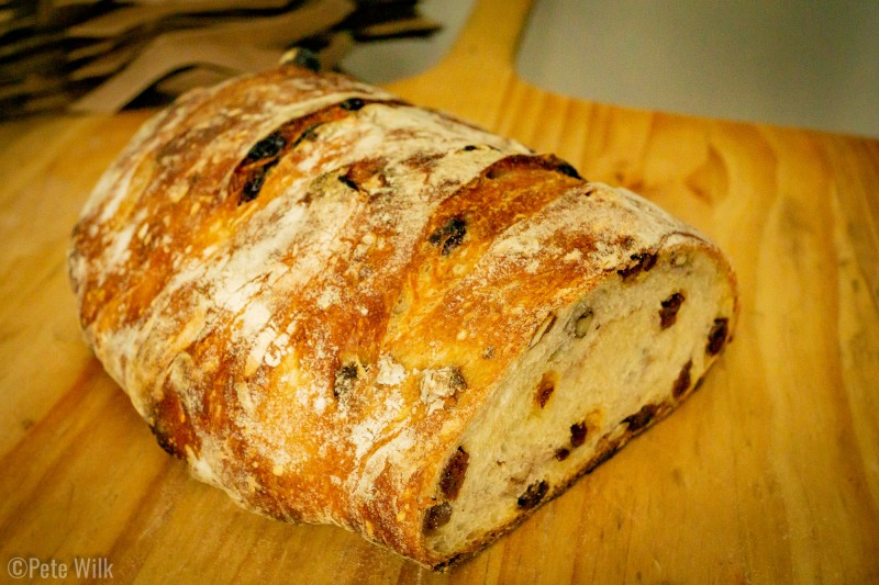 A sweet loaf of bread this time.  Cinnamon and raisins rolled up in a twist.  This cut doesn't show the swirls.