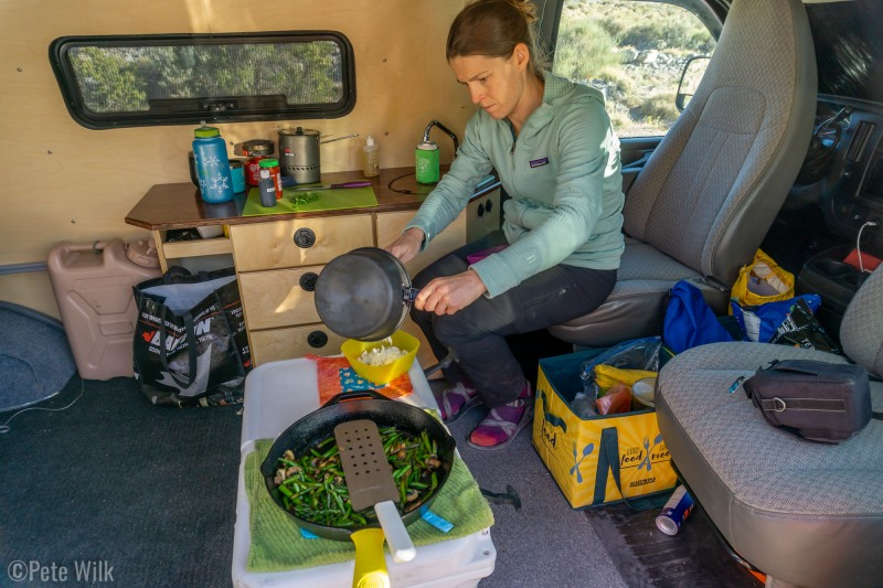 Cooking in the new van with the finished kitchenette.