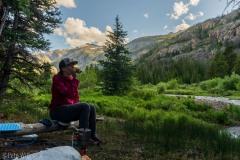 Enjoying our camping spot next to Torrey Creek.