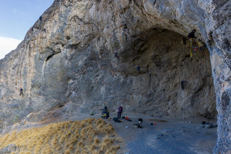 Six people up on ropes at once.  Dana acting as runner for stuff on the ground.  The cave is pretty huge.