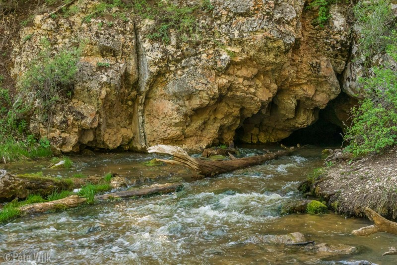 The Hole-in-the-Rock spring where a stream comes out of the limestone and merges with another surface stream.