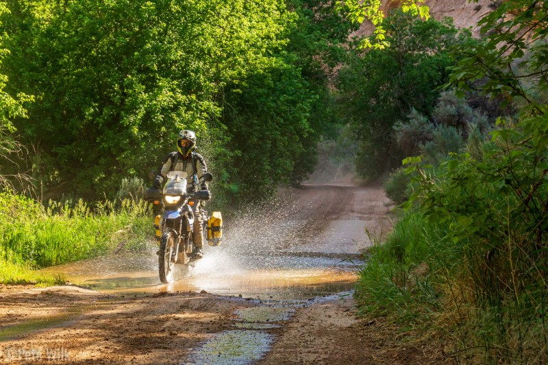 There are a couple very casual stream crossings on the road.  All of them are improved with concrete to prevent erosion—thus making them no different than driving through a puddle on the bikes.