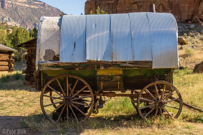 Covered wagon at the Chew Ranch.