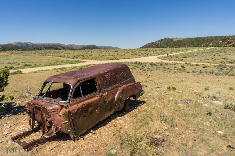 A shot up old station-wagon.  I've no idea on the backstory for this one, there's no sign.