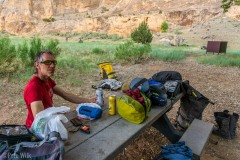 At Echo Park Campground.  We opted for this pay zone since it is such a nice location near the Green River and at the bottom of steep sandstone walls.  Note the best two options for single beers from the gas station prior to heading into Dinosaur NM.