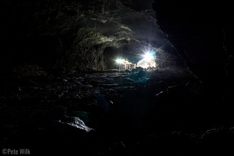 Beauty Cave was quite dark and required headlamps.  The air was +30 deg cooler than outside and humid too.  There were tiny drops of of moisture that reflected our lights back at us making the walls look like they were shining.