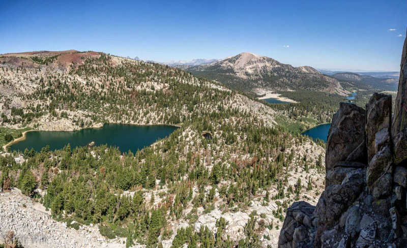 Looking down towards the many lakes of the Mammoth, CA region.