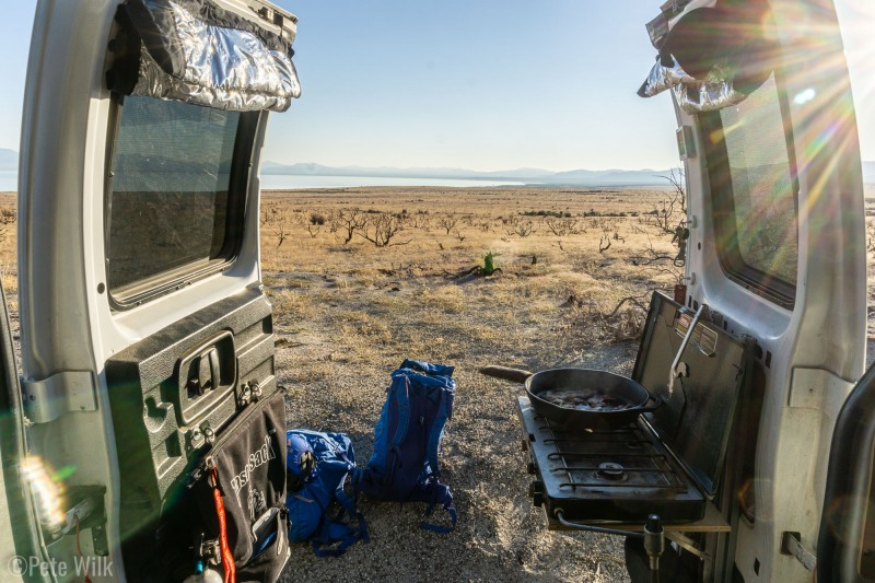 Since we couldn't stay in Tuolmne we drove down to Mono Lake and bivied there.  Cooking breakfast on the side of the road.